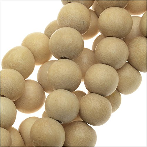 Pukalet Wood Beads, Dyed Smooth Round 6mm, 1 Strand, Natural (Pukalet Natural)