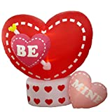 8 Foot Animated Inflatable Valentine's Hearts with Rotating Heart - Romantic Valentine Gift for Couple, Cute Anniversary Gift Decoration