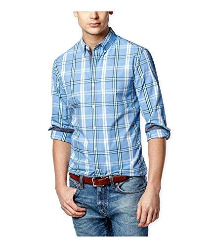 Club Room Mens Wentworth Plaid LS Button up Shirt Blue ()
