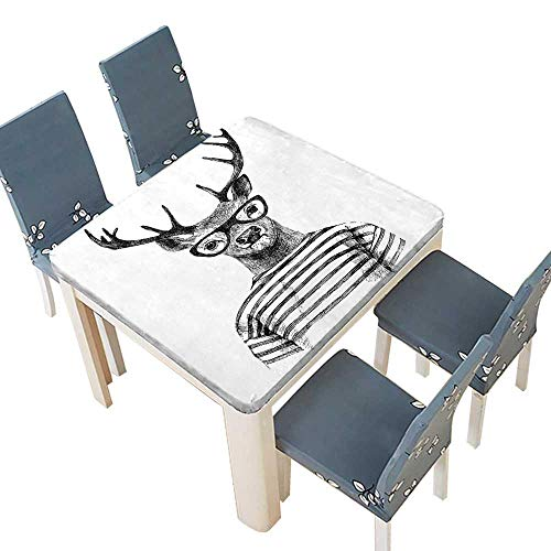 Polyester Tablecloth Collection Dressed Up Deer Reindeer Headed Human Hipster Style with Glasses Striped Shirt Easy Care Spillproof 61 x 61 INCH (Elastic Edge)