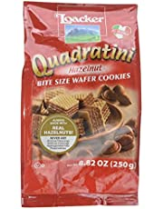 Loacker Quadratini Premium Italian Hazelnut Wafer Cookies, 250g/8.82oz, Hazelnut, 250 Grams