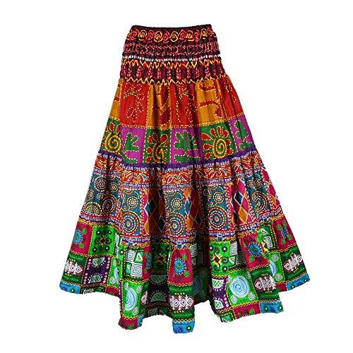 BONYA Women's Hippie Boho Colorful Patchwork Smocked Stretch Waist Long Skirt (Color2)