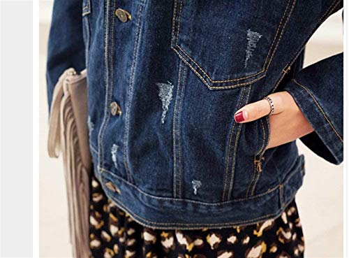 Semplice Lunghe Giacca Outerwear Primaverile Relaxed Haidean Blu Tempo Maniche Libero Elegante Glamorous Casual Streetwear Cappotto Autunno Blau Jeans Donna Ragazze Stile Tendenza OqqwExS8A