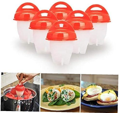 Romote Eierkocher Set Antihaft-silikon-Ei-kocher Hart Weich Maker Nein Shell Non Stick Silikon Gekochte Dampfer Eggies 6pcs
