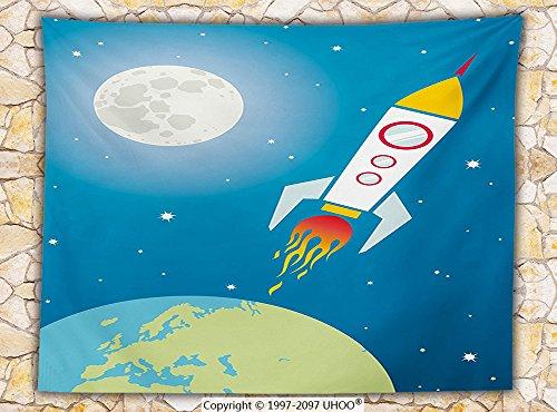 Kids Nursery Cartoon Print Decor Fleece Throw Blanket Rocket Galaxy Astronaut Spaceship Shuttle Universe Travel Moon Stars and Earth Throw