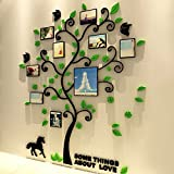 VANCORE 3D Crystal Acrylic Tree Wall Art Sticker With Photo Frame For Home Bedroom Decoration
