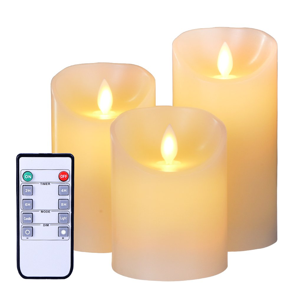 Flameless LED Candles Flickering Light Pillar Real Smooth Wax Candles with Timer and 10-key Remote for Wedding and Decoration,Perfect Gift Idea (3'' X 9'')