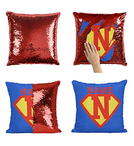 Add Custom Name Initials Sequin Pillow, Birthday Custom Pillow Superhero Man Boy Girl, First Name Letter Personalized Mermaid Cover, Birthday Gift [Pillow Insert -