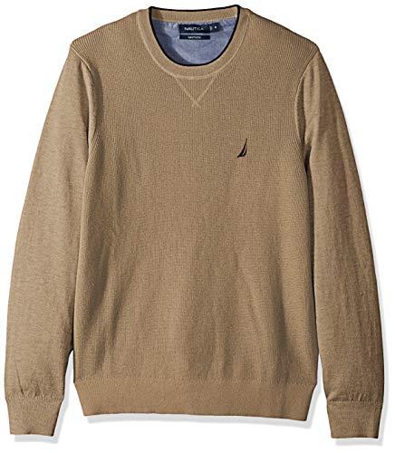 Nautica Men's Light Weight Crew Neck Solid Sweater, Coastal Camel Heather, (Brown Heather Sweater)
