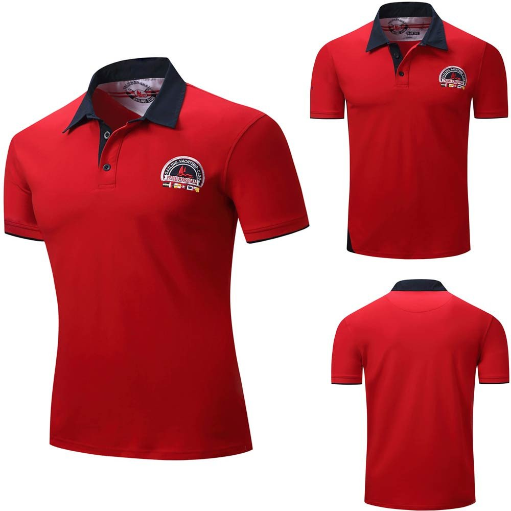 Mens Polo Tee Splicing Casual Button T-Shirt Pullover Short Sleeve Top Blouse
