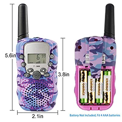 Zwish Kids Walkie Talkies Toys 2 Pack 22 Channels 2 Way Radio with Flashlight and LCD Screen 3 Miles Range for Boys Girls Outside Adventures, Camping, Hiking(Purple Camo): Toys & Games