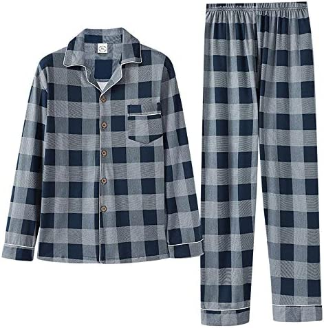 メンズパジャマ セットのコットンカーディガンスリーピングメンズ青少年ホームサービスセットメンズ長袖 上下 セット 春 秋 (Color : C, Size : XXXL)