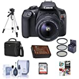 Canon EOS Rebel T6 Digital SLR Camera Kit with EF-S 18-55mm f/3.5-5.6 IS II Lens - Bundle with Holster Case, 32GB U3 SDHC Card, Cleaning Kit, Spare Battery, 58mm Filter Kit, Tripod, Software Package