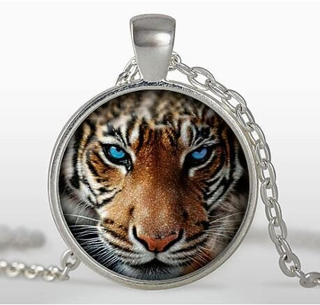 Tiger Pendant, Tiger Necklace, Silver plated pendant, Tiger Jewelry blue, black, -