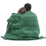 Irish Wool Plaited Aran Celtic Blanket (Connemara Green)