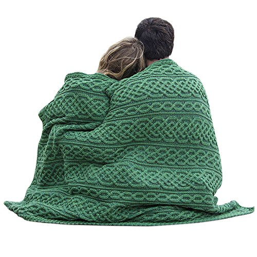 - Carraig Donn Irish Wool Plaited Aran Celtic Blanket (Kiwi/Connemara Green)