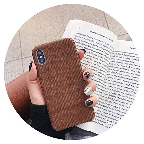 Fashion Corduroy Cloth Phone Cases for iPhone X XS XR XSMax Case for iPhone 6 6s 7 8 Plus Simple Solid Color Soft Cover Capa,Green,for iphoneXR,Brown,Foriphone8plus