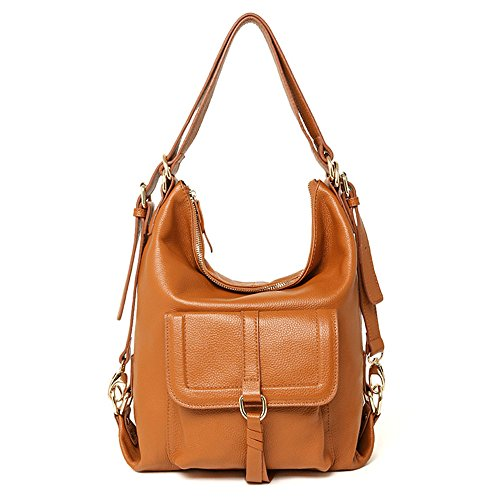 Brown with Bag Shoulder SEALINF Backpack Flap Womens Leather Front Top Handle Convertible w6pBqPZ6