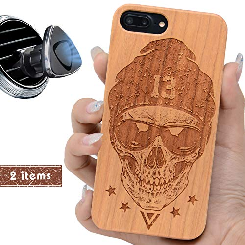 iProductsUS Skull Phone Case Compatible with iPhone 8 7 6/6S Plus (ONLY) and Magnetic Mount-Wooden Phone Cases Engraved Cool Skull Built in Metal Plate,TPU Rubber Shockproof and Protective Cover(5.5