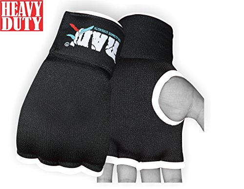 RAD Pro Boxing Gel Gloves,MMA,Grappling Gloves with Hand Wraps,Inner Gloves,UFC (Black, -