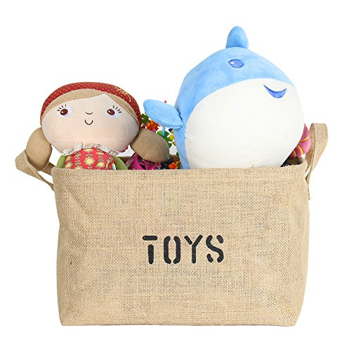 Lukher Jute Storage Basket Bin and Organizer with Handles for Baby Toys, Kids Toys, Baby Clothing