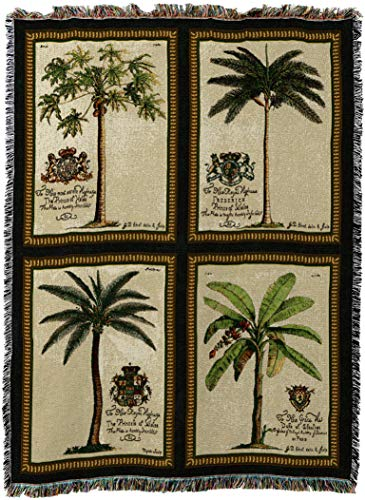 Duke Woven Jacquard - Pure Country Weavers - Royal Palms Woven Tapestry Throw Blanket with Fringe Cotton USA Size 72 x 54