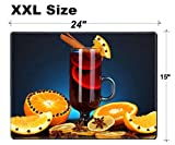 Luxlady Extra Large Mouse Pad XXL Extended Non-Slip Rubber Gaming Mousepad 24x15 Inch, 3mm thick Stitched Edge Desk Mat IMAGE ID: 22351563 Fragrant mulled wine in glass with spices and oranges around