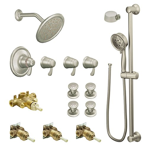 Moen KSPEX-HB-TS275BN 7-Inch Rainshower Vertical Spa Kit with Handheld Shower and Slide Bar, Brushed ()