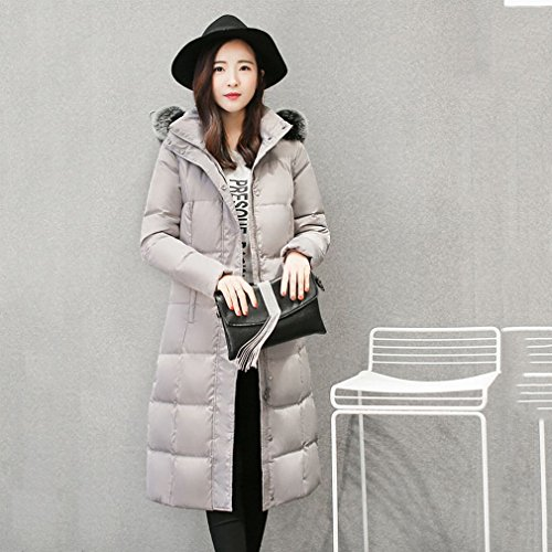 down Hair Coat Women Casual Collar Grey Simple Long down 'S Winter Jacket Jacket TT Slim 40xpUP