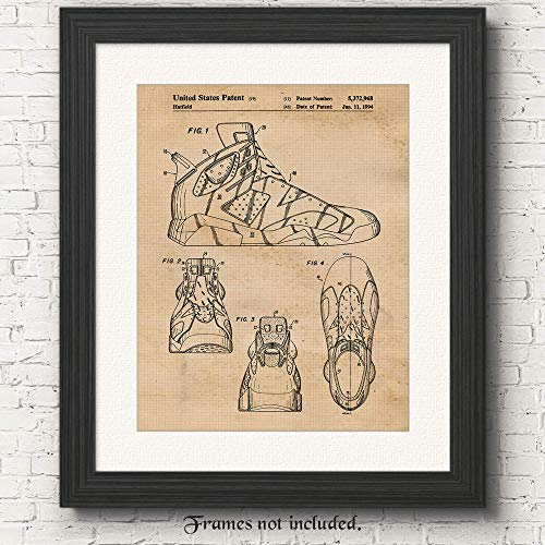 innovative design 7bb68 6a4b7 Original Nike Air Jordan 6 Sneaker Patent Art Poster Print- Set of 1 (One  11x14) Unframed- Great Wall Art Decor Gift for Home, Office, Gym, Garage,  ...