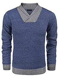 COOFANDY Men's Autumn Winter Ribbed V-Neck Long Sleeve Pullover Sweater