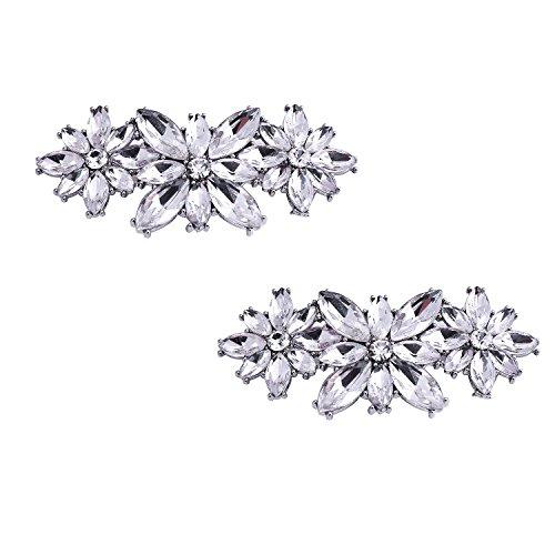 ElegantPark BL Fashion Flower Design Rhinestones Wedding Party Decoration Shoes Clips Silver 2 Pcs