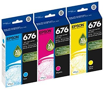 Genuine Epson 676XL DURABrite Ultra Color (Cyan,Magenta,Yellow) Ink Cartridge 3-Pack (Includes 1 each of - Yellow Epson Inkjet Genuine
