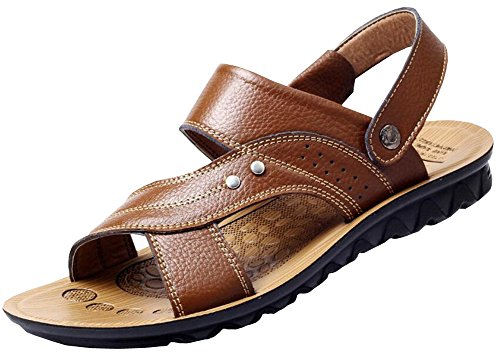 Vocni Mens Casual Outdoor Adulto Moda In Pelle Comfort Estate Scarpe Sandali Giallo Marrone