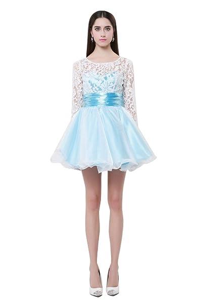 dressesinstock Mujer Encaje Manga Larga Keyhole Volver corto vestido de fiesta