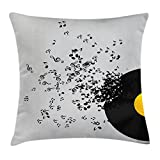 Ambesonne Music Decor Throw Pillow Cushion Cover, Abstract Music Illustration Flying Music Notes Disc Album Dancing Nightclub, Decorative Square Accent Pillow Case, 20 X 20 Inches, Black and Grey