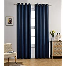 MYSKY HOME Solid Grommet top Thermal Insulated Window Blackout Curtains, 52 x 84 Inch, Navy, 1 Panel
