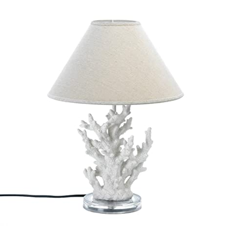 White coral table lamp with neutral beige shade ocean nautical beach