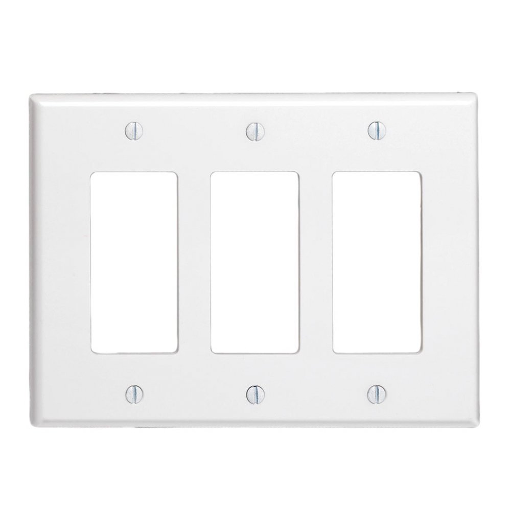 LEVITON 80611-W Decorator 3 Gang Wallplate Midsize White - 609066,