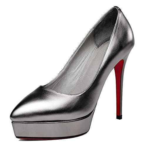 Nine Seven Cuero Moda Plataforma Puntiagudos Zapatos de Tacón de Aguja de Vestir para Mujer gris