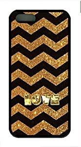Golden Love Cover Case Skin for iPhone 5 5S Soft TPU Black