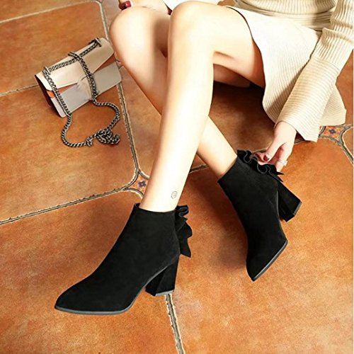 Elevin (tm) 2017 Femmes Hiver Mode Bout Pointu Martin Talons Hauts Martin Cheville Bottes Chaussures Noir