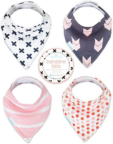 Kaydee Baby Best Bandana Drool and Dribble Bibs with Adjustable Snaps for Boys and for Girls (X's) 4 Pack Gift Set