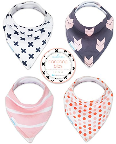 Price comparison product image Kaydee Baby Best Bandana Drool and Dribble Bibs with Adjustable Snaps for Boys and for Girls (X's) 4 Pack Gift Set