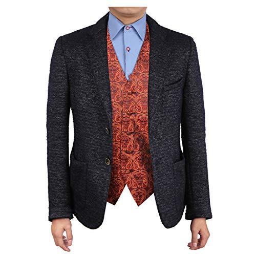 Epoint EGC1B05C-L Orange Black Patterned Italy Style Waistcoat Woven Microfiber Mens Vest For Lawyers Large Vest