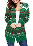 Dokotoo Womens Amazon Cozy Plus Size Winter Long Sleeve Cute Ugly Holiday Santa Snow Juniors Christmas Funny Knitting Long Cardigans Sweater Pullover Green Medium