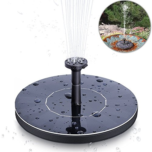 opamoo Solar Fountain Pump Solar Powered Bird Bath Solar Water Pump 1.4W Free Standing Water Fountain Panel Kit Watering Submersible Pump for Pond, Pool, Patio and Garden Outdoor Solar Fountain