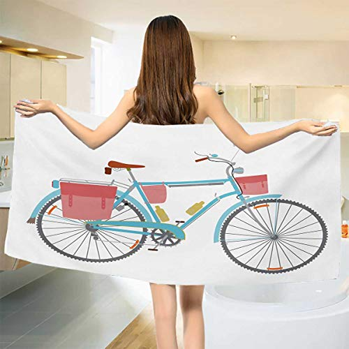 """Chaneyhouse Bicycle,Bath Towel,Classic Touring Bike with Derailleur and Saddlebags Healthy Active Lifestyle Travel,Customized Bath Towels,Multicolor Size: W 19.5"""" x L 39.5"""""""