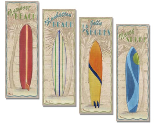 4 Vintage Colorful Surfboard Art Prints La Jolla Newport Manhattan North Surfing Beach - Newport Manhattan