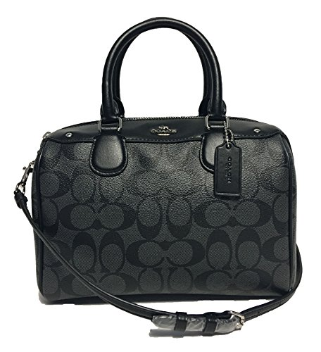 Coach Handbag Coach Purse (Coach Signature Mini Bennett Crossbody Satchel (SV/Black Smoke/Black))